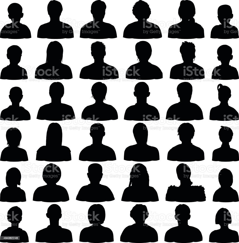 Detailed Head Silhouettes vector art illustration