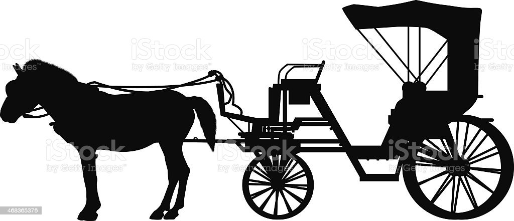 Detailed Horse and Cart vector art illustration