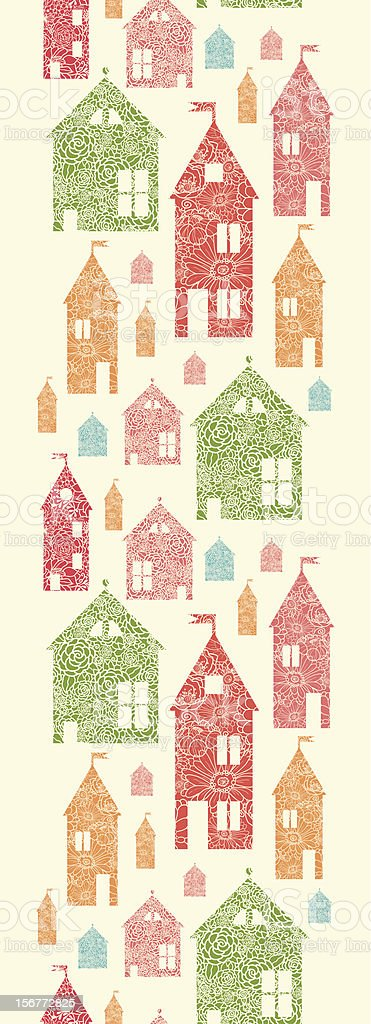 Detailed Houses Silhouettes Vertical Seamless Pattern Ornament royalty-free stock vector art