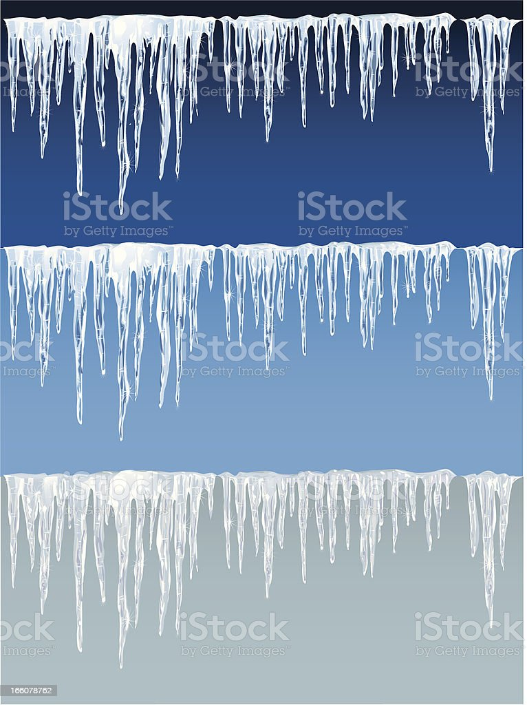 Detailed icicles on blue and gray background vector art illustration