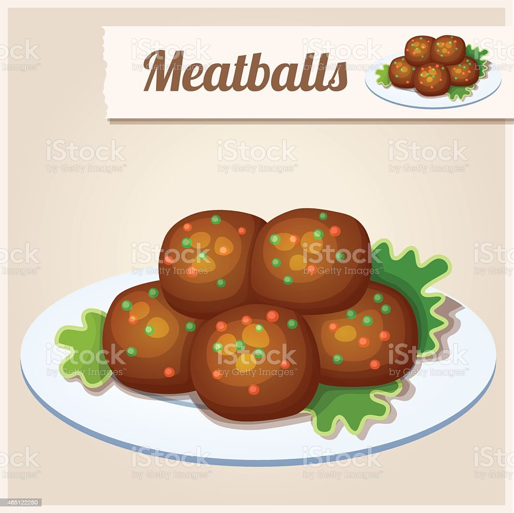 Detailed Icon. Meatballs vector art illustration