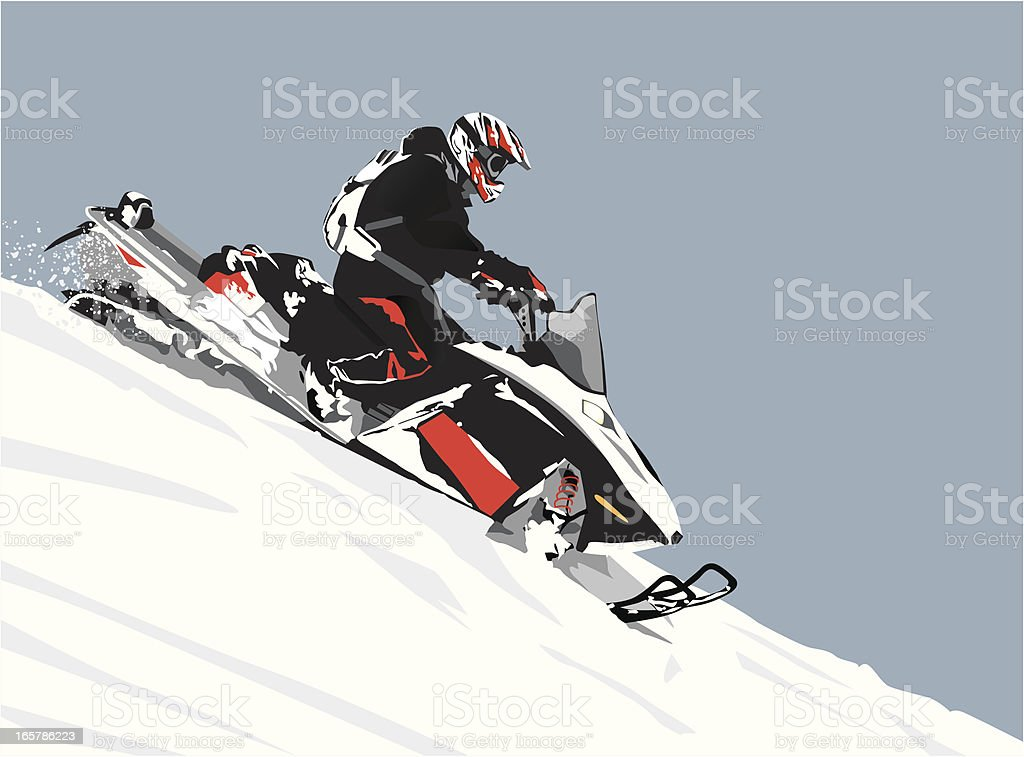Detailed Illustration of a snowmobiler riding downhill in the mountains. vector art illustration