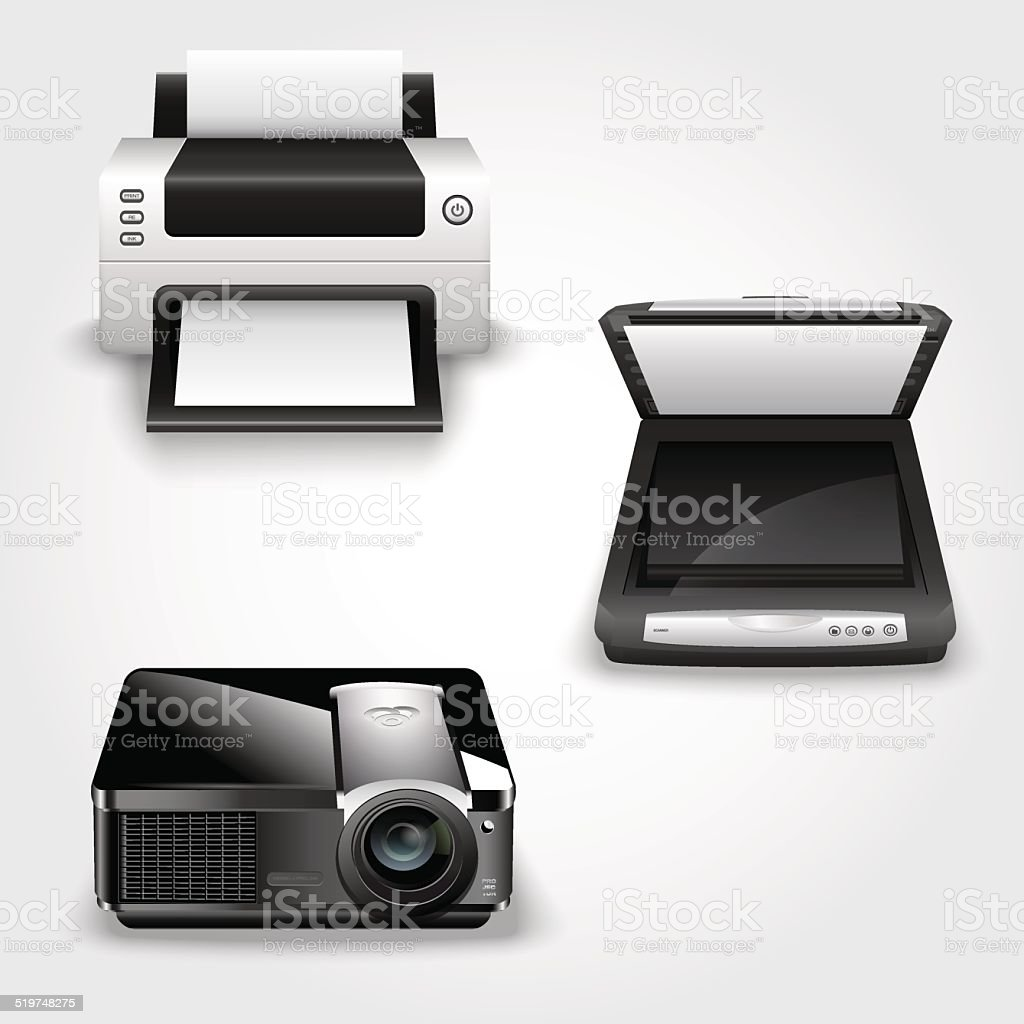 Detailed illustration of abstract printer, scanner and projector vector art illustration