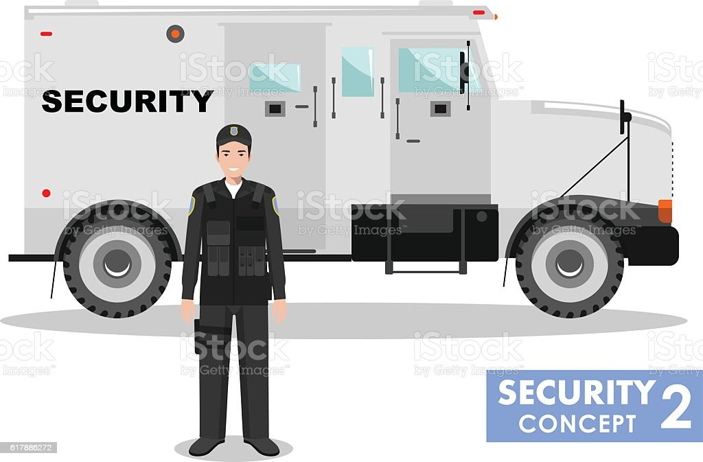 Detailed illustration of armored car and security guard. Vector illustration. vector art illustration