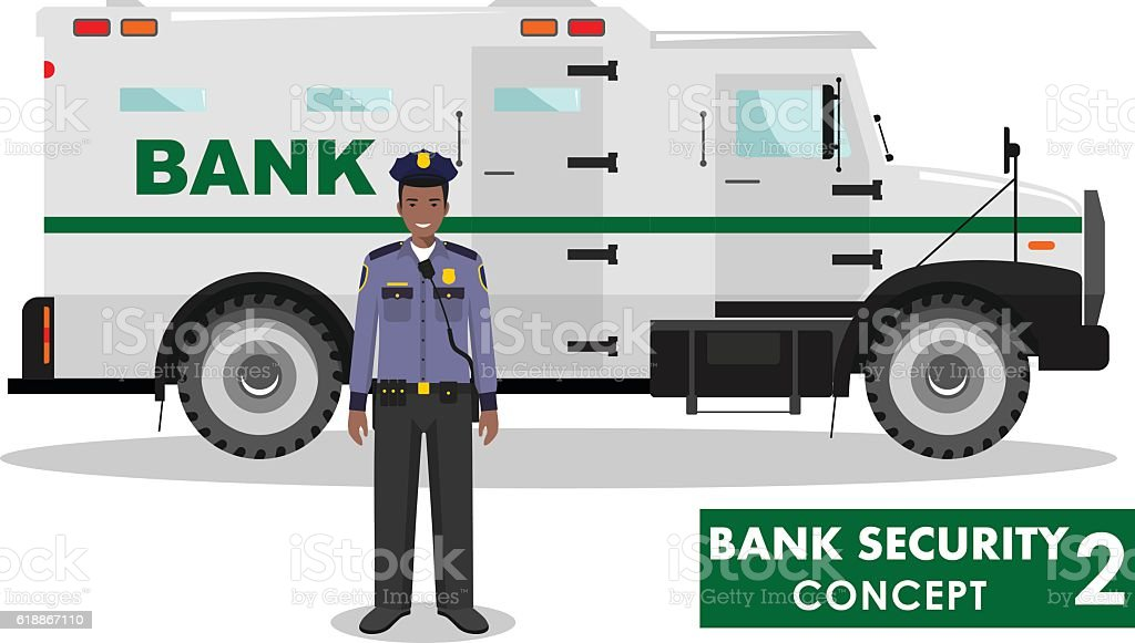 Detailed illustration of bank armored car and security guard. Vector. vector art illustration
