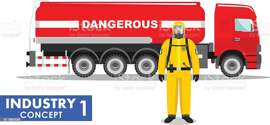 Detailed illustration of cistern truck carrying chemical substances and worker. vector art illustration