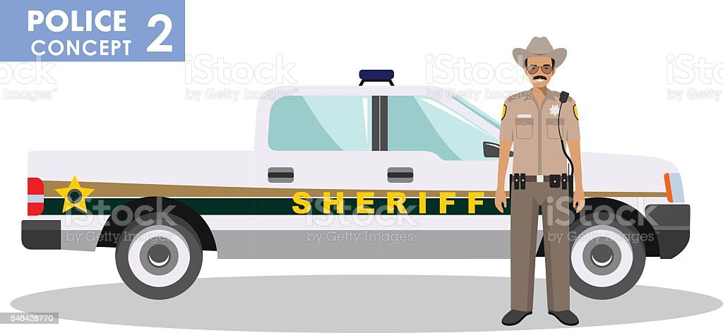 Detailed illustration of sheriff and police car in flat style. vector art illustration