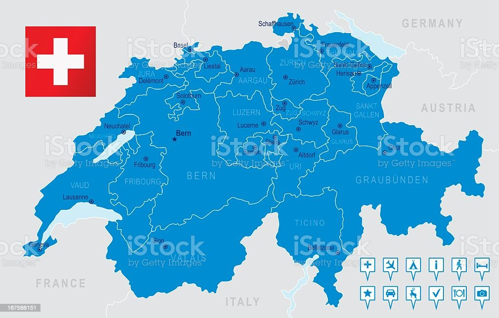 Detailed illustration of Switzerland's regions and states vector art illustration