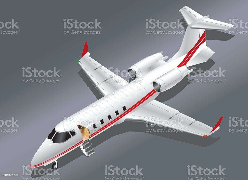 Detailed Isometric View of a Learjet 60 parked vector art illustration