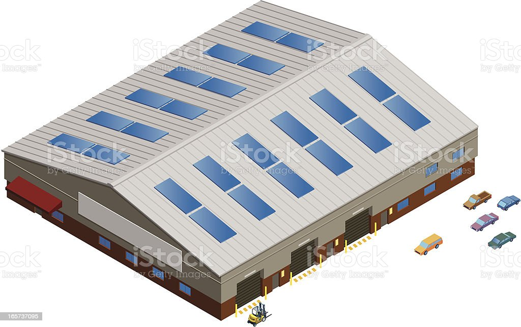 Detailed Isometric Warehouse or Manufacturing Facility royalty-free stock vector art