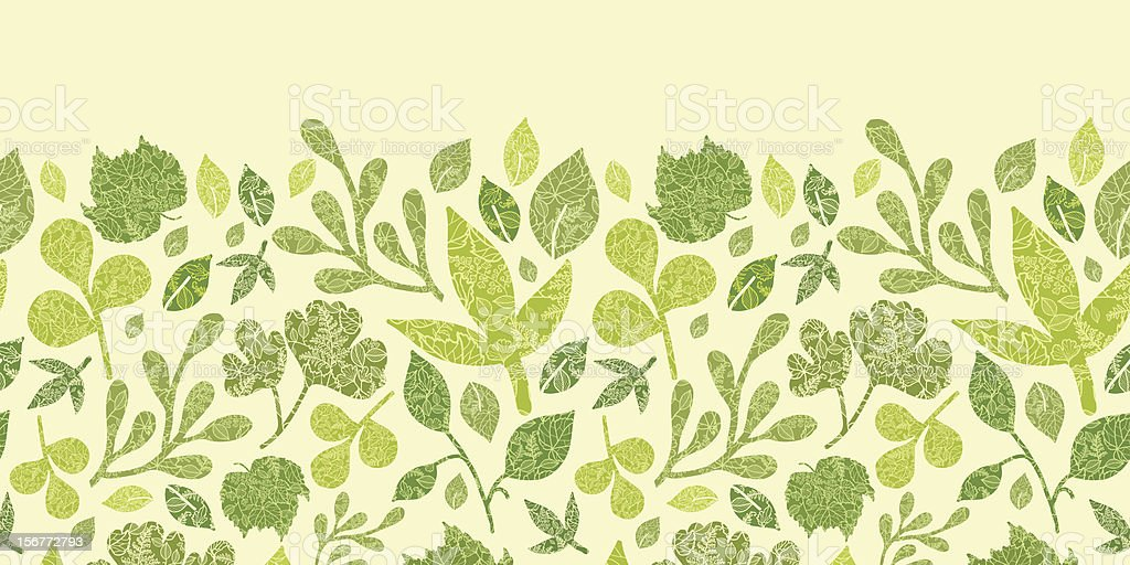 Detailed Leaves Horizontal Seamless Pattern Ornament royalty-free stock vector art