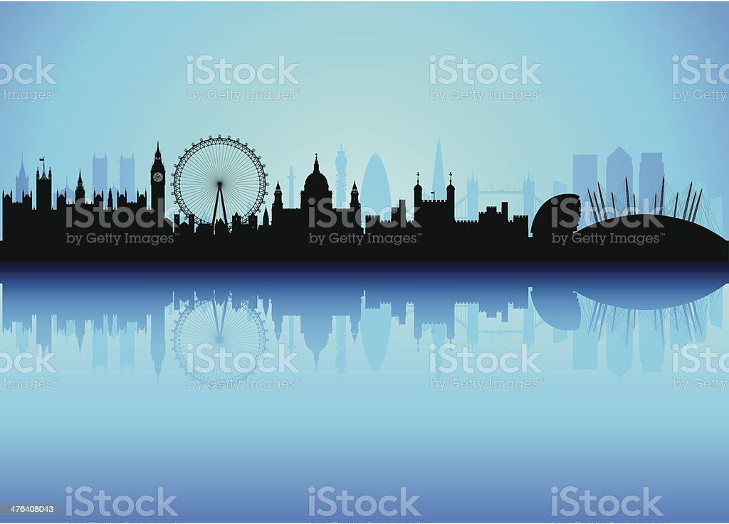 Detailed London Skyline (Each Building is Moveable and Complete) vector art illustration