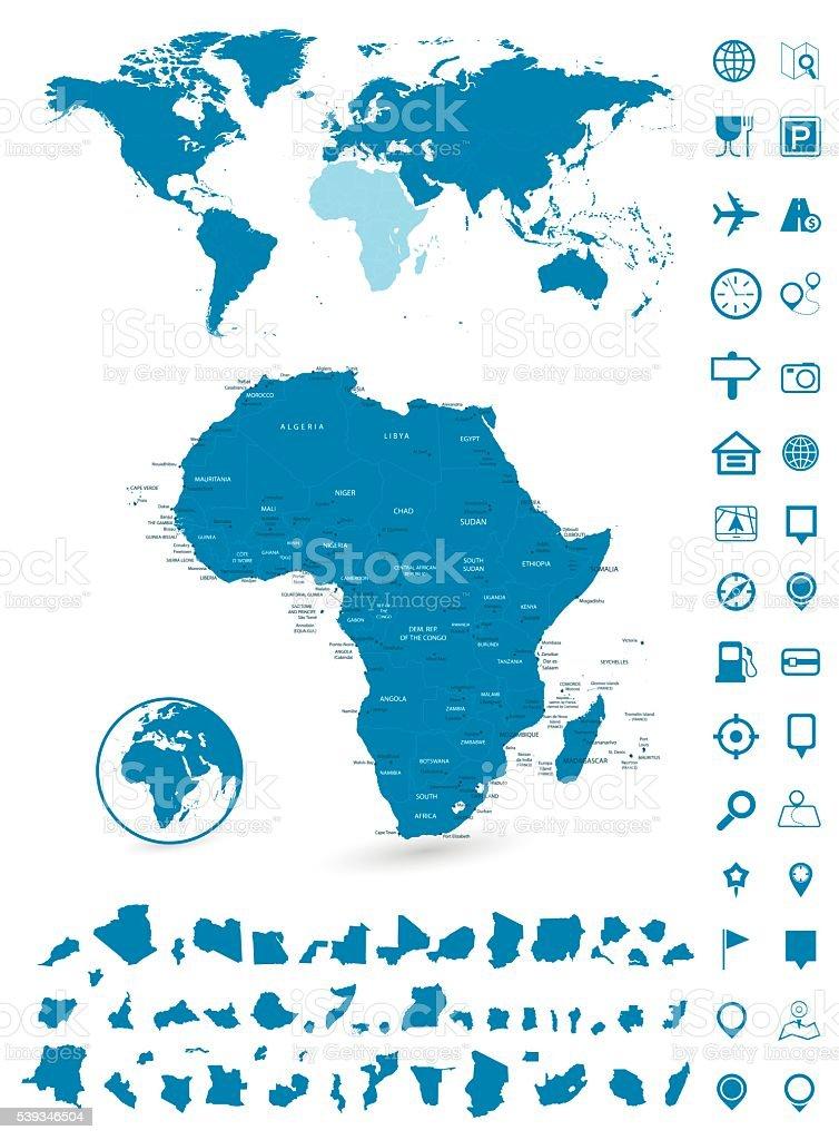 Detailed map of Africa and World map navigation set vector art illustration