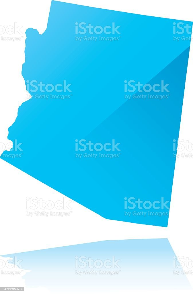 Detailed map of Arizona state royalty-free stock vector art