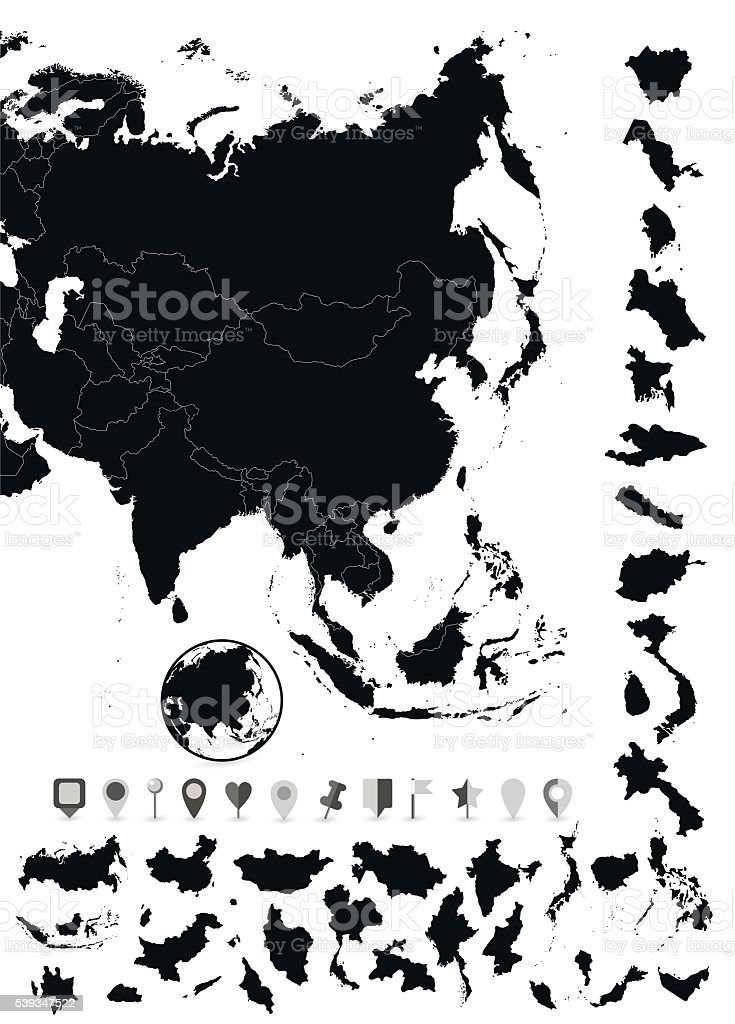 Detailed map of Asia and flat navigation set vector art illustration