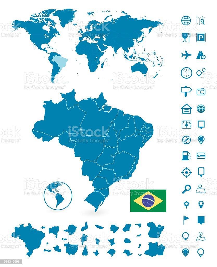 Detailed map of Brazil and World map navigation set vector art illustration