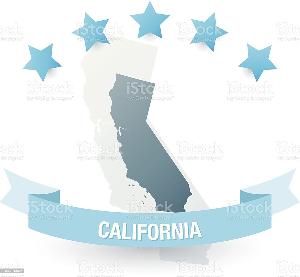 Detailed map of California state vector art illustration