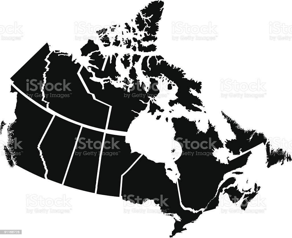 Detailed Map of Canadian Territories vector art illustration