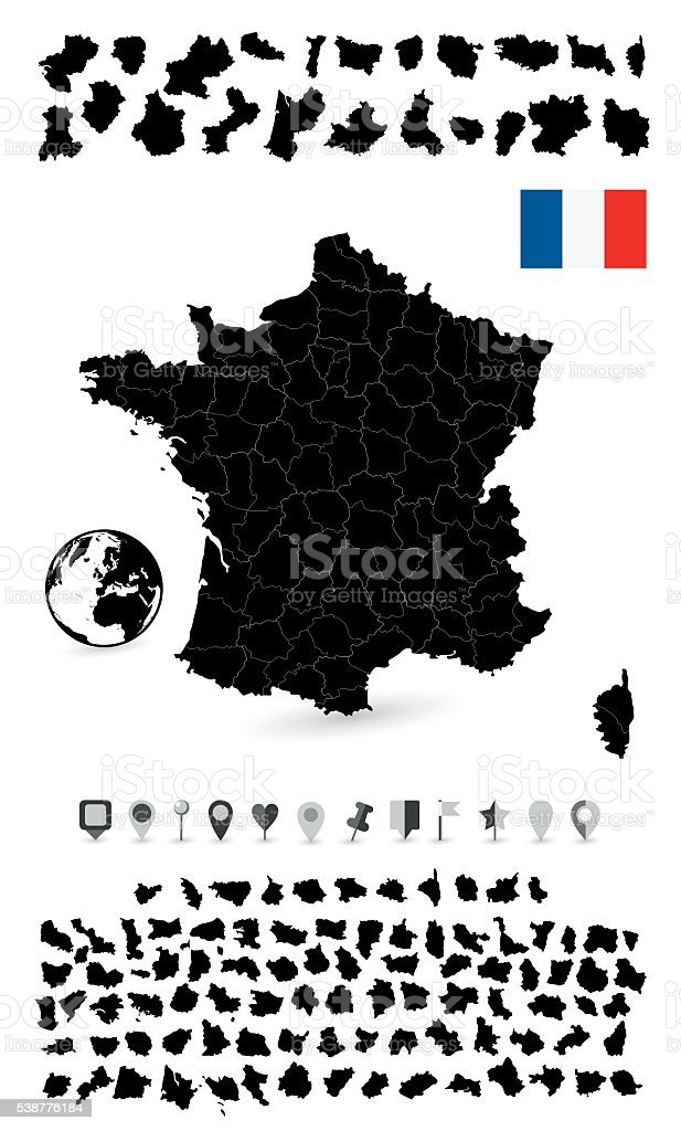 Detailed map of France and flat navigation set vector art illustration