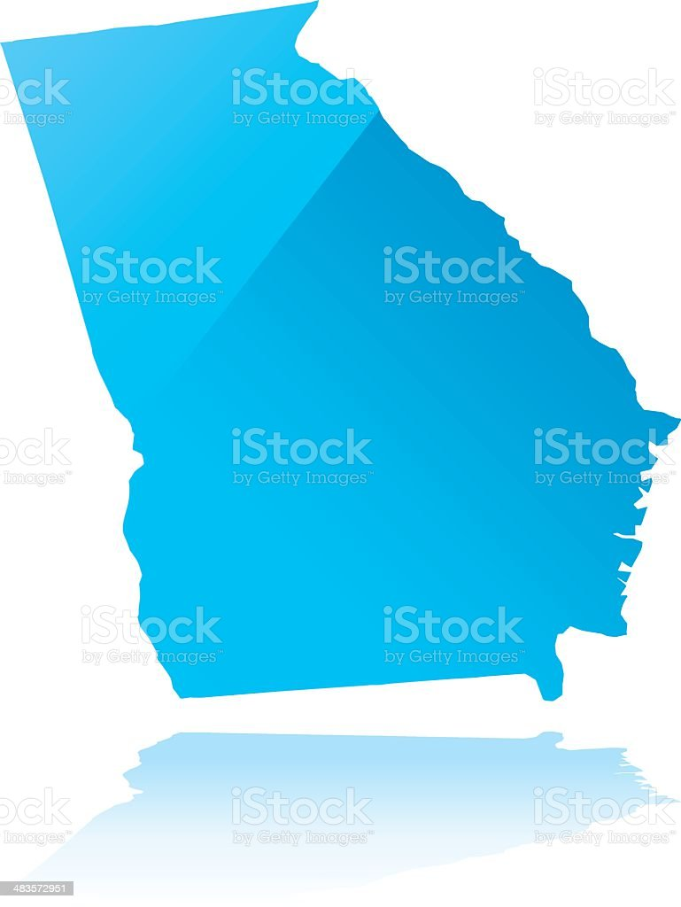 Detailed map of Georgia state royalty-free stock vector art