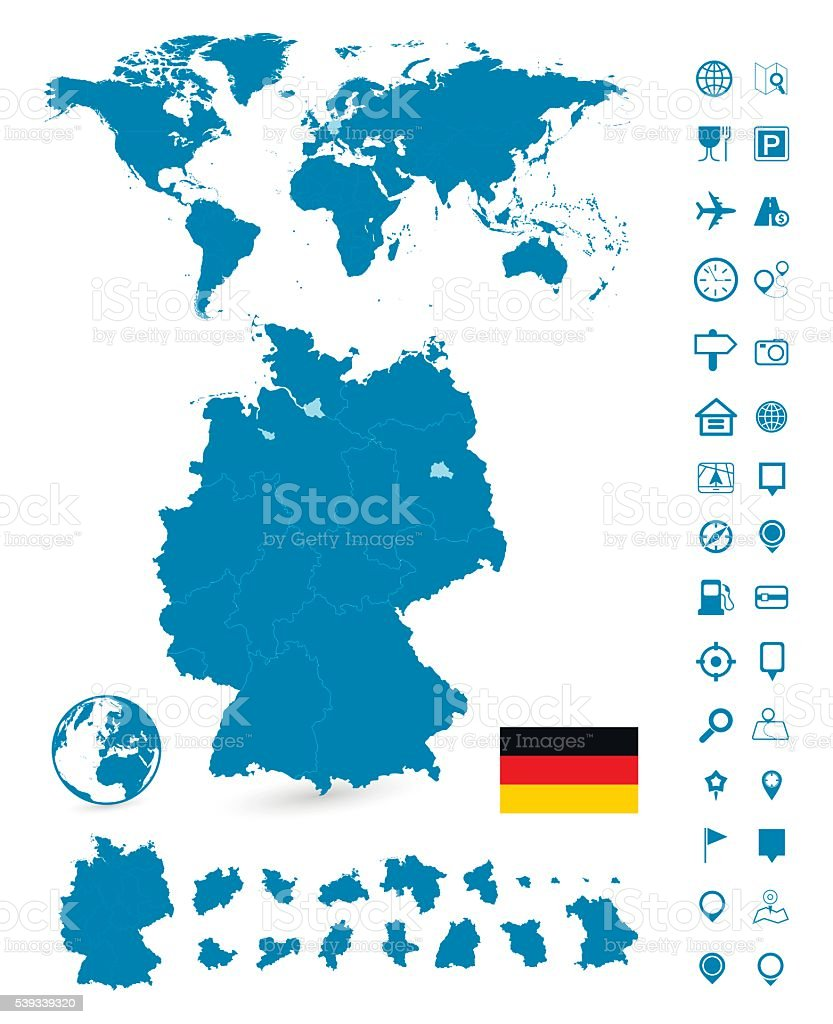 Detailed map of Germany and World map navigation set vector art illustration