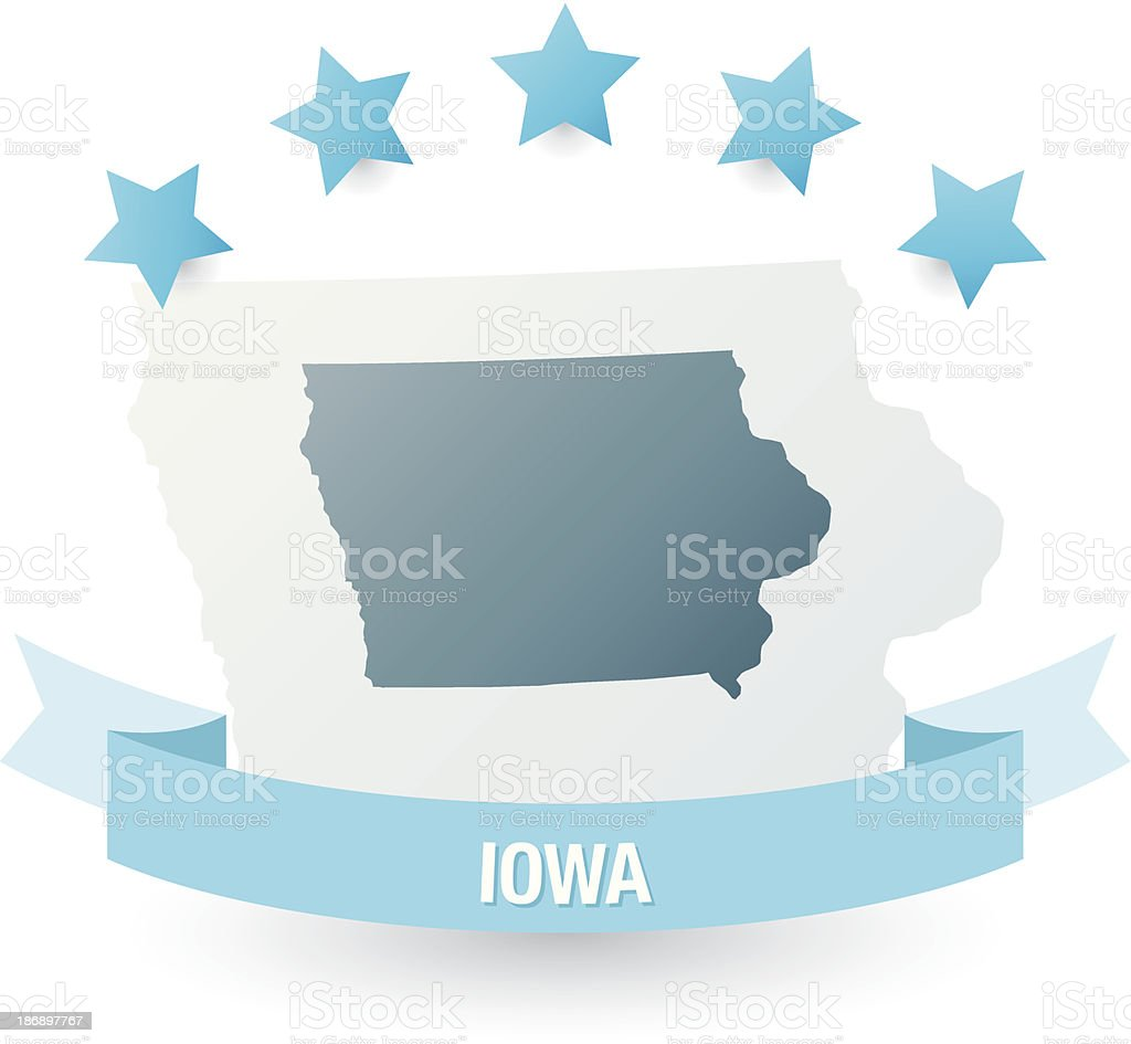 Detailed map of Iowa state royalty-free stock vector art