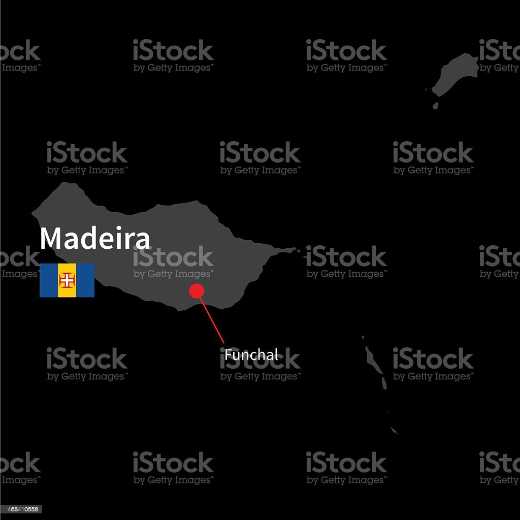 Detailed map of Madeira and capital city Funchal with flag vector art illustration