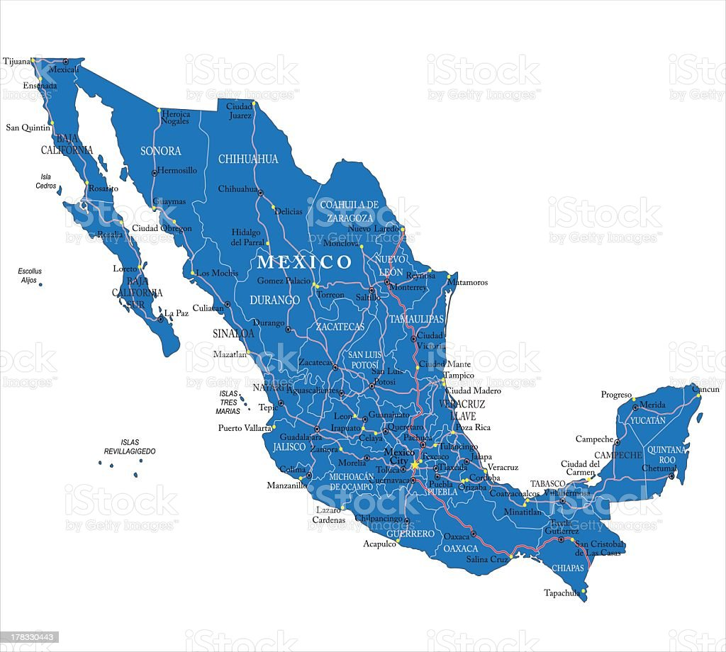 A detailed map of Mexico in blue vector art illustration