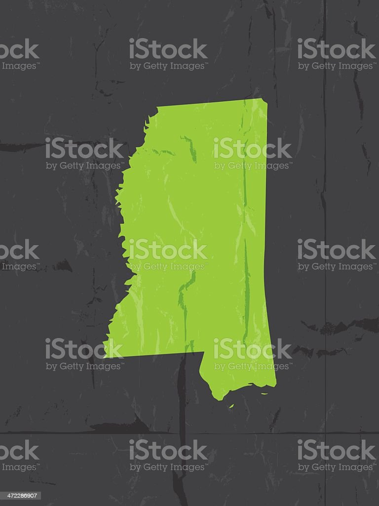 Detailed map of mississippi state grunge style royalty-free stock vector art