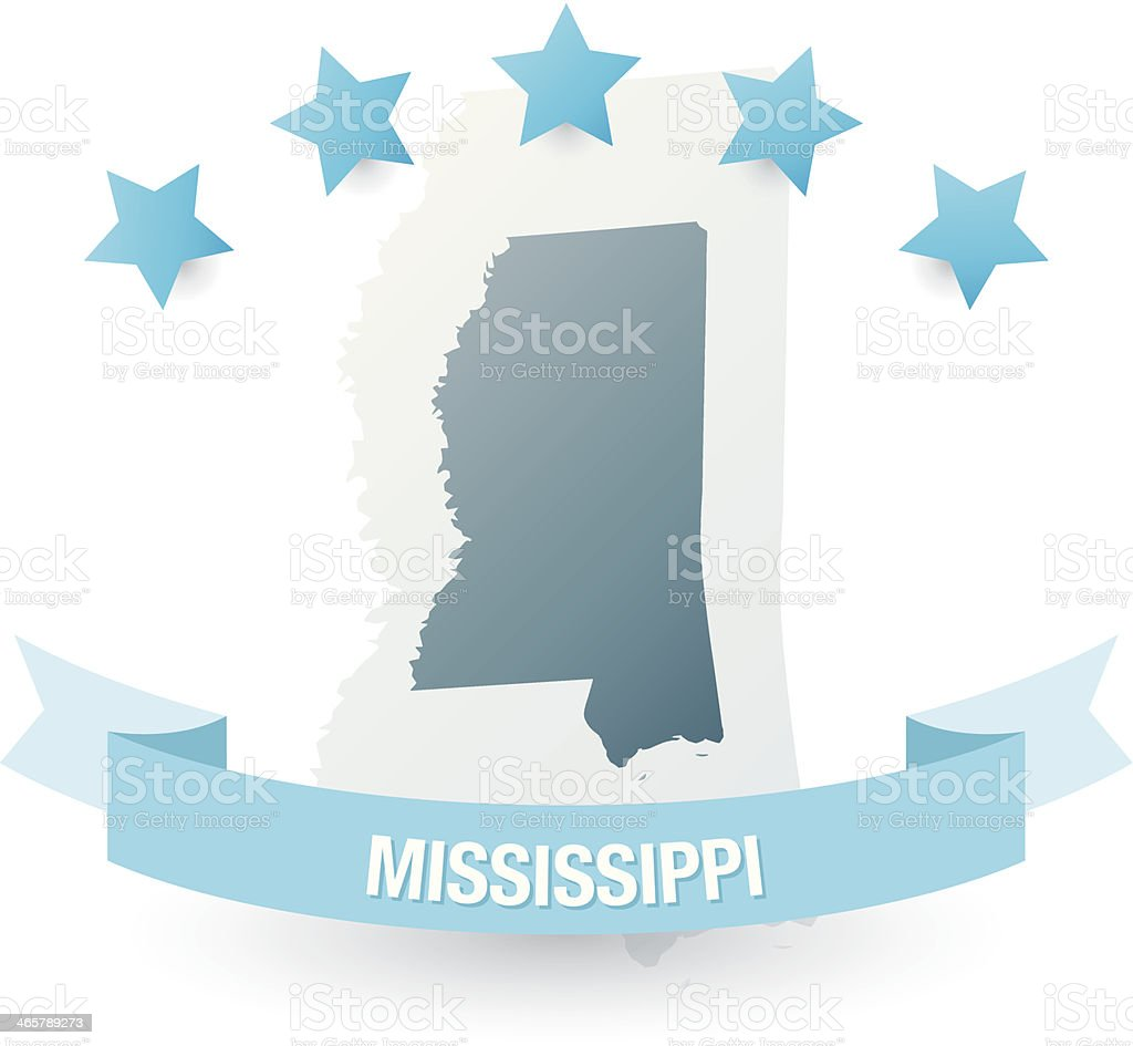Detailed map of mississippi state royalty-free stock vector art