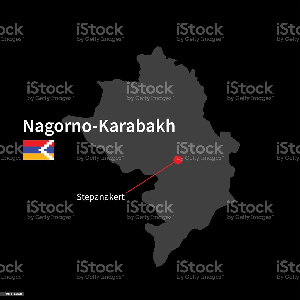 Detailed map of Nagorno-Karabakh and capital city Stepanakert with vector art illustration