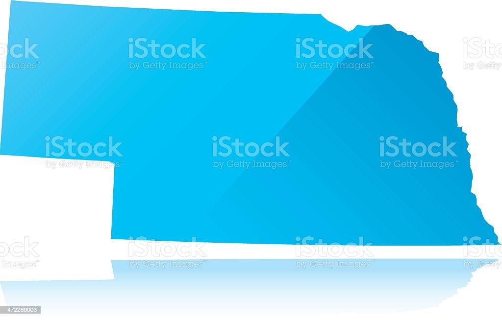 Detailed map of Nebraska state royalty-free stock vector art