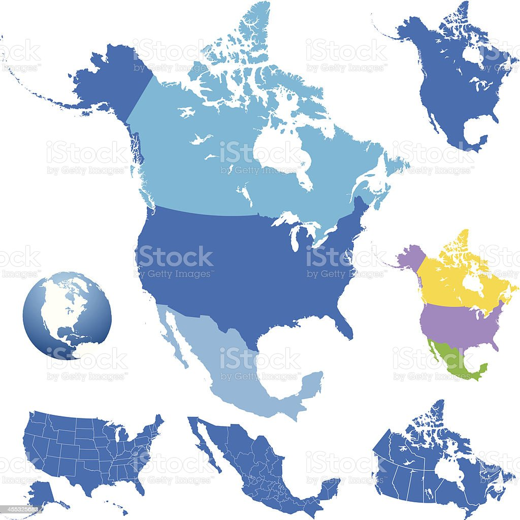 detailed map of North America royalty-free stock vector art