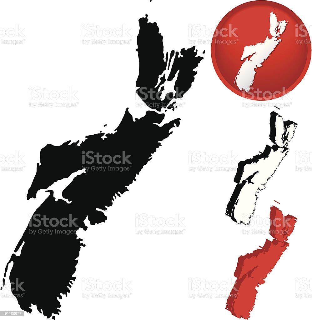 Detailed Map of Nova Scotia, Canada royalty-free stock vector art