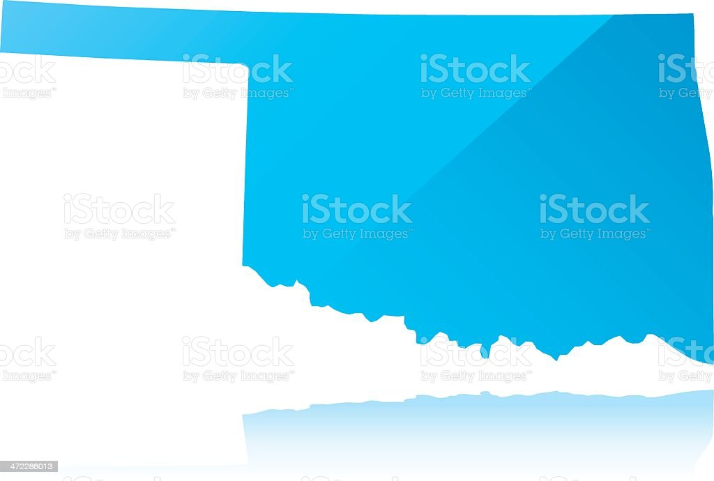 Detailed map of Oklahoma state royalty-free stock vector art