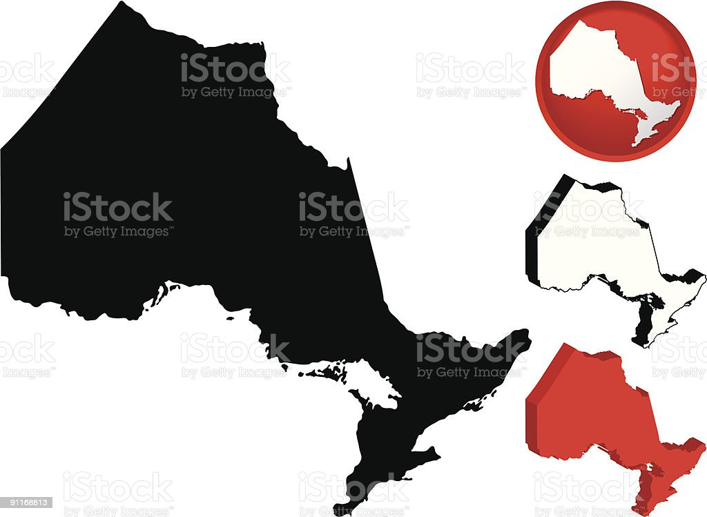 Detailed Map of Ontario, Canada vector art illustration