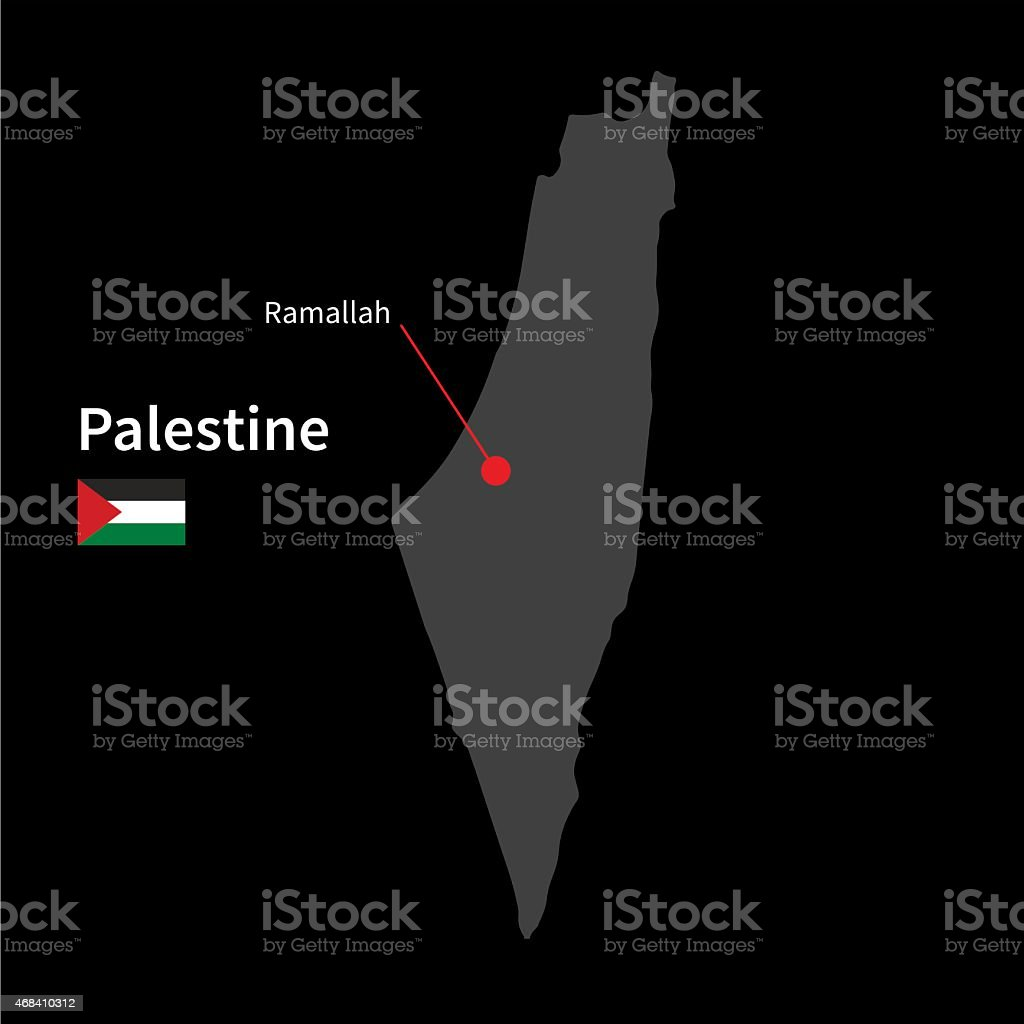 Detailed map of Palestine and capital city Ramallah with flag vector art illustration