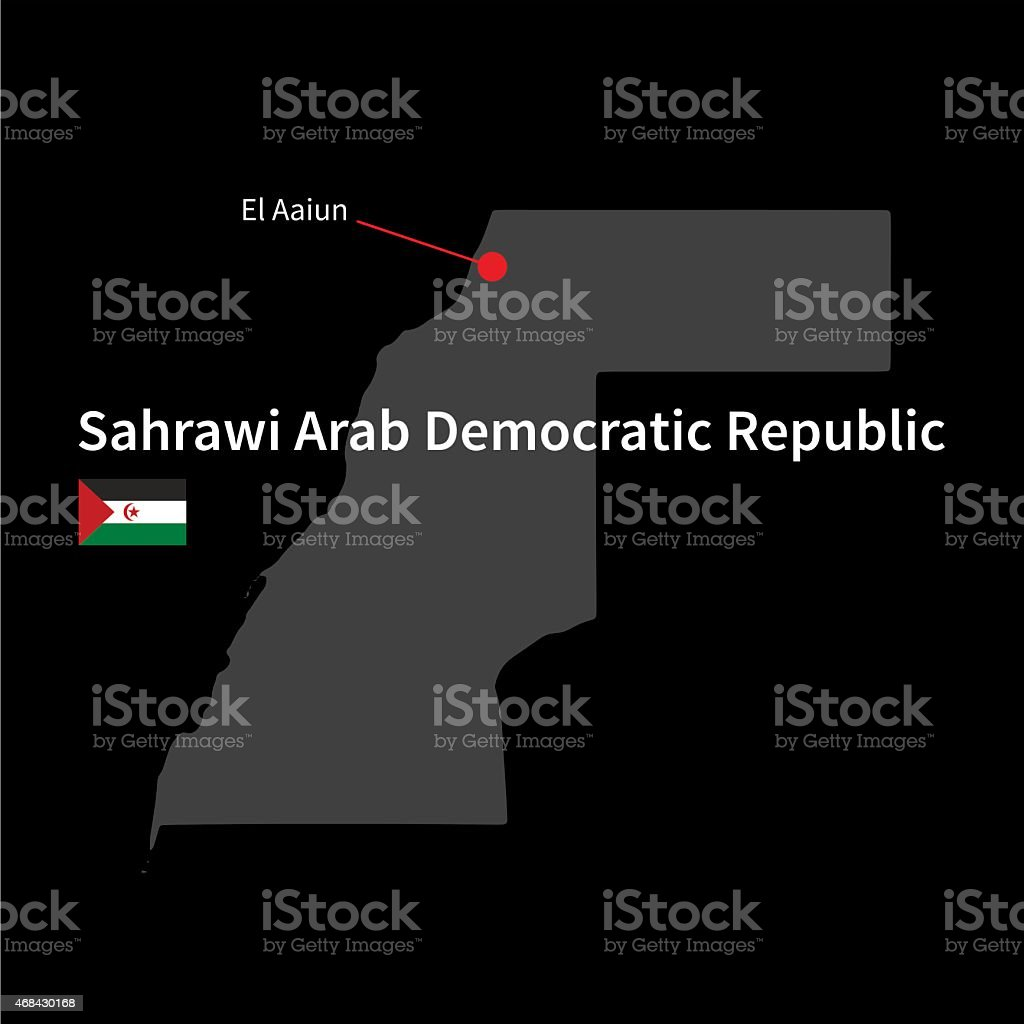 Detailed map of Sahrawi Arab Democratic Republic and capital city vector art illustration