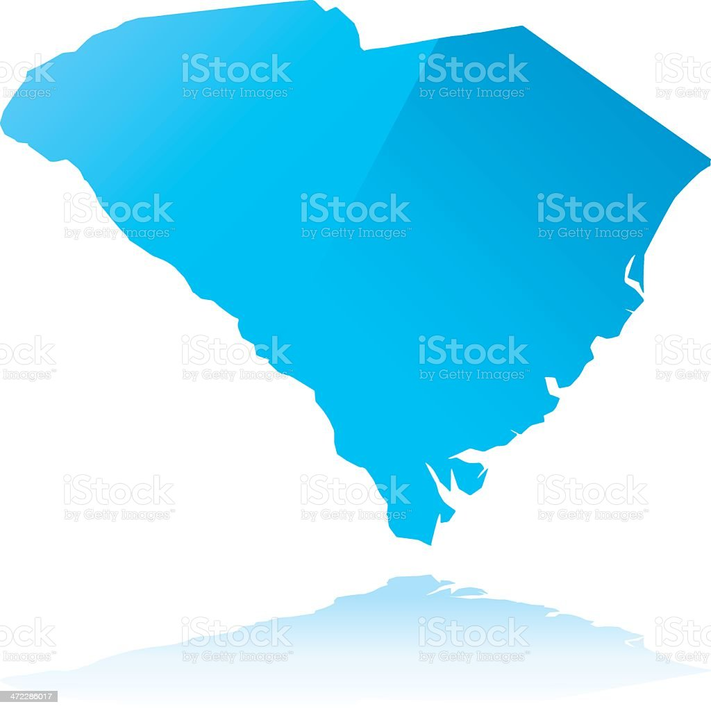 Detailed map of South Carolina state royalty-free stock vector art