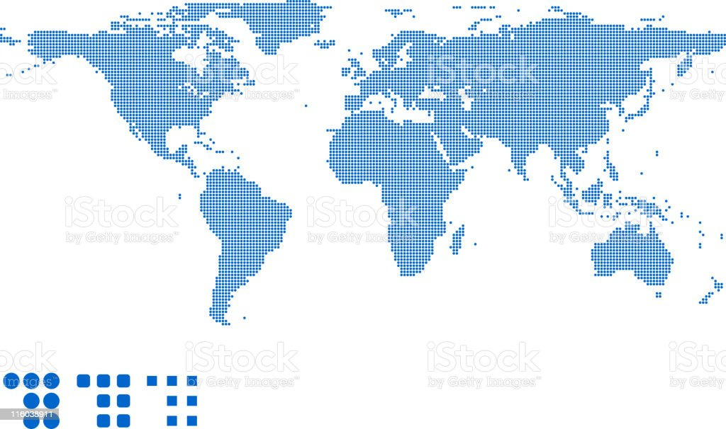 Detailed map of the world vector art illustration