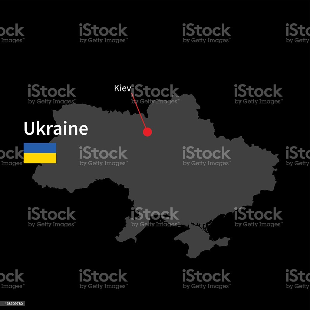 Detailed map of Ukraine and capital city Kiev with flag vector art illustration