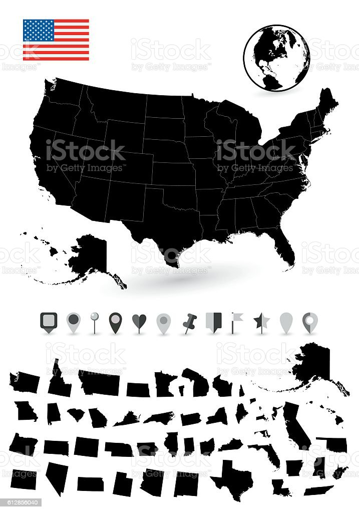 Detailed map of USA with it's states vector art illustration