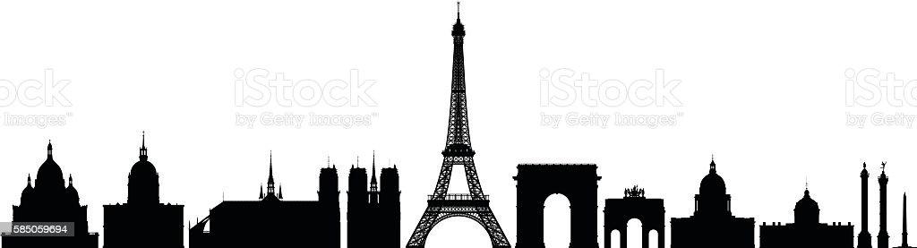 Detailed Monuments of Paris vector art illustration