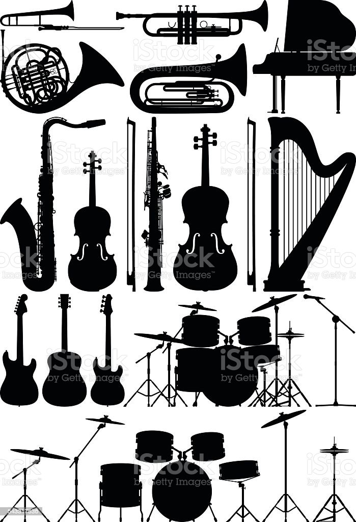 Detailed Musical Instruments vector art illustration