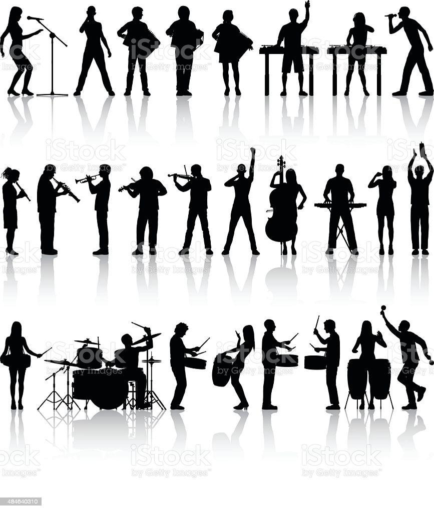Detailed Musicians vector art illustration