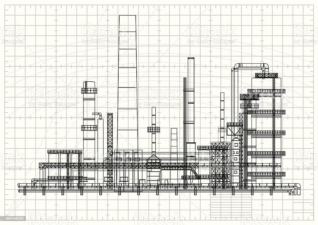 Detailed oil refinery blueprint royalty-free stock vector art
