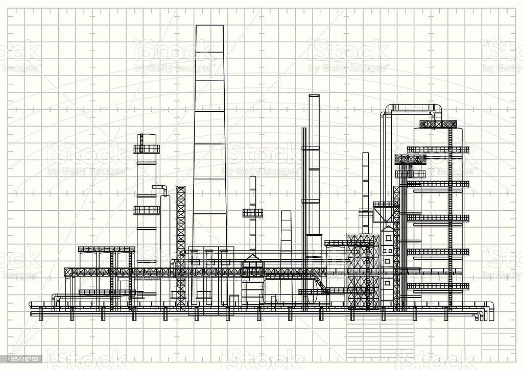 Detailed oil refinery blueprint vector art illustration