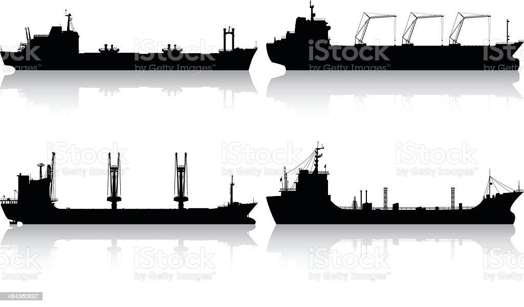 Detailed Oil Tankers vector art illustration