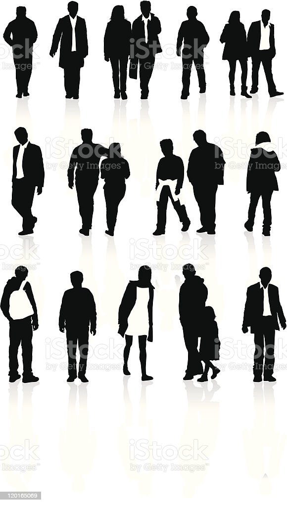 detailed people silhouette set royalty-free stock vector art