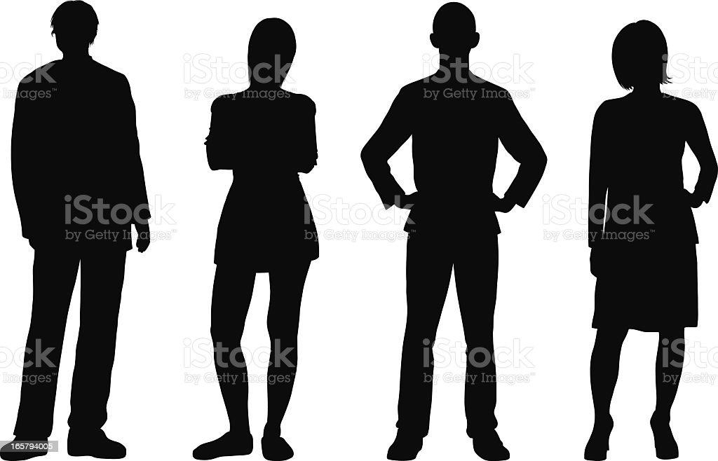 Detailed People Silhouettes royalty-free stock vector art
